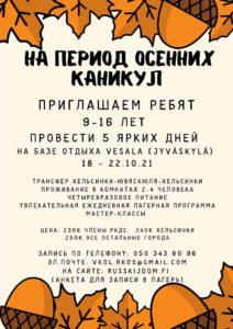 осенний лагерь для детей, хельсинки, финляндия